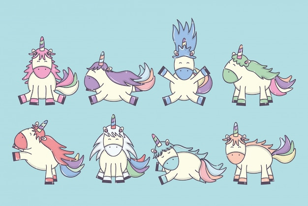 Group of cute adorable unicorns fairy characters Free Vector