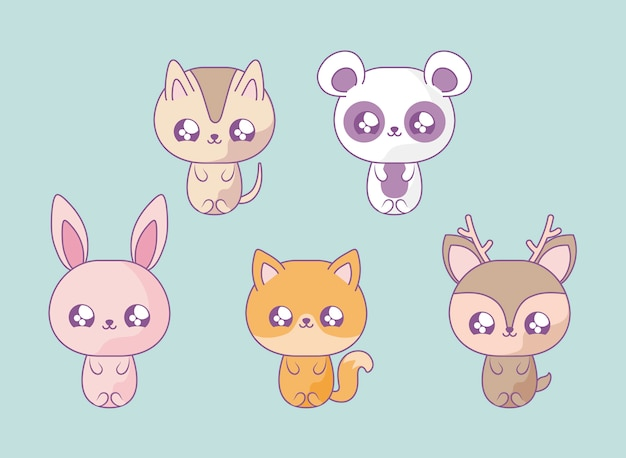 Group of cute animals baby kawaii style Premium Vector