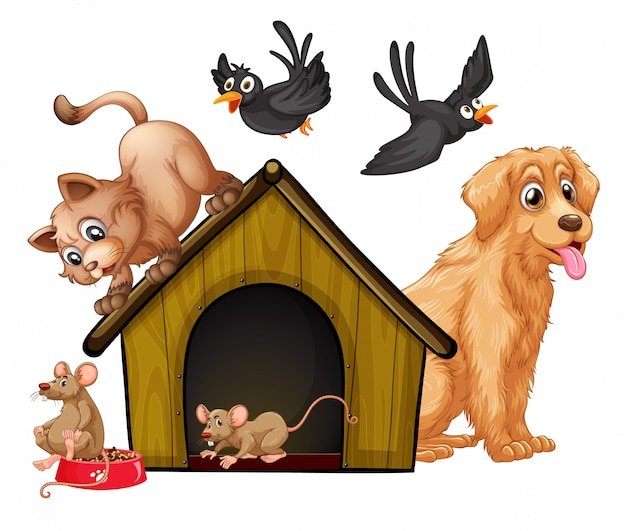 Group of cute animals cartoon character Free Vector