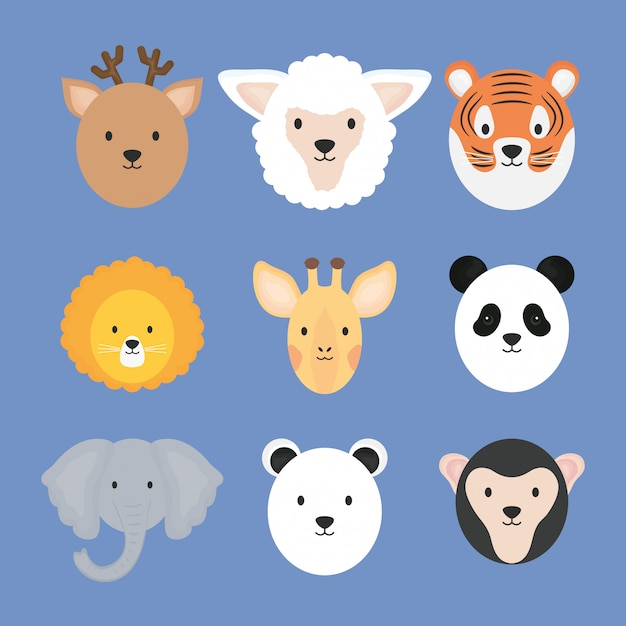Group of cute animals characters Premium Vector