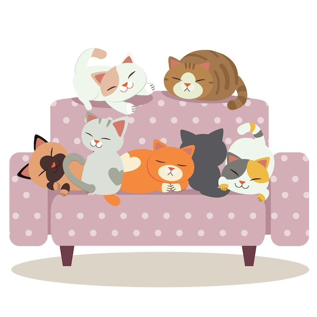 A group of cute cat playing on the purple polka dot sofa Premium Vector