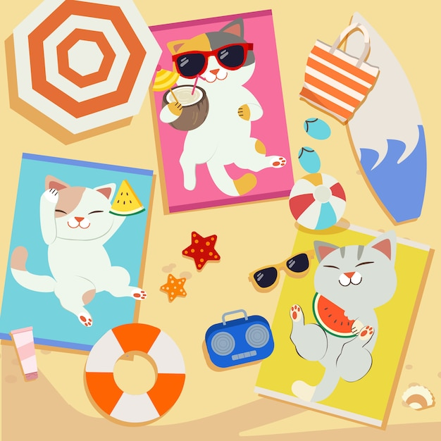 A group of cute cat sunbathing on the beach.some cat wear sunglasses some cat eating watermelon. Premium Vector