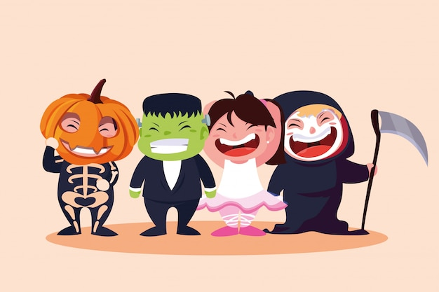 Group cute childrens disguised for halloween Premium Vector