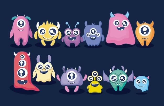 Group of cute monsters card Premium Vector