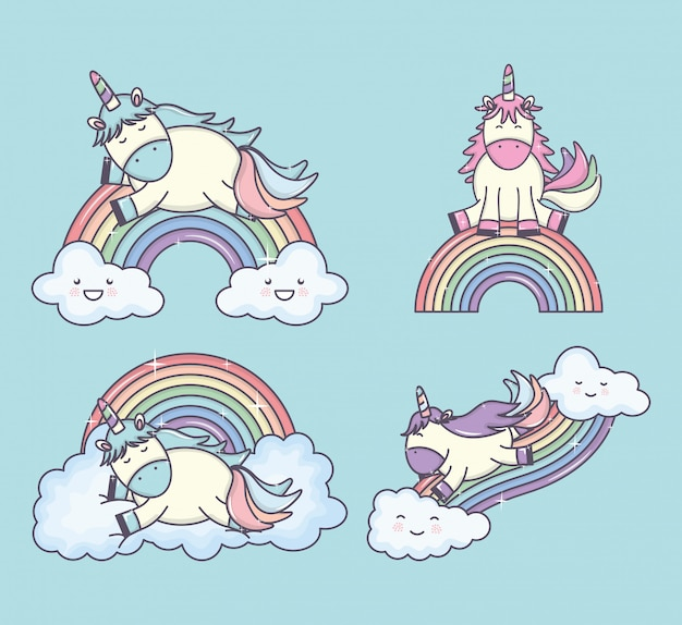 Group of cute unicorns with rainbows and clouds characters Free Vector