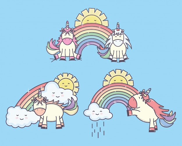 Group of cute unicorns with rainbows and suns characters Free Vector