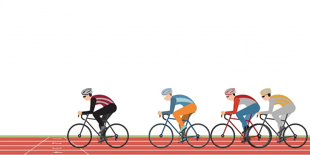 Group of cyclists man in road bicycle racing on athletic track isolated on white Premium Vector