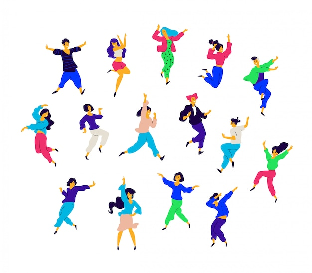 A group of dancing people in different poses and emotions. Premium Vector