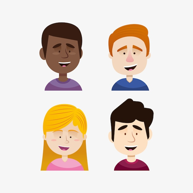 Group of different people avatars Free Vector