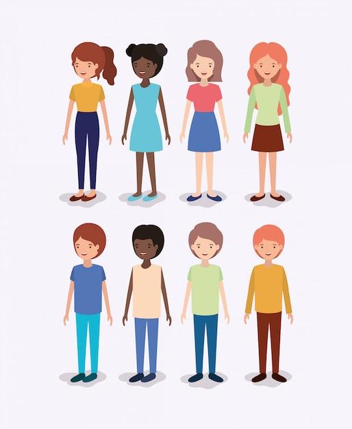 Group of diversity kids characters Premium Vector
