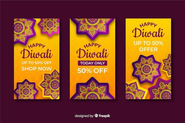 Group of diwali festival instagram stories Free Vector