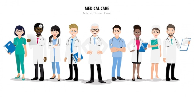 Group of doctors and a nurse team standing together in different poses. Premium Vector