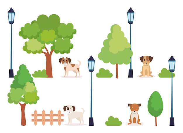 Group of dogs in park Free Vector