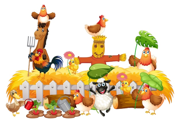 Group of domestic animals in a farm isolated Free Vector