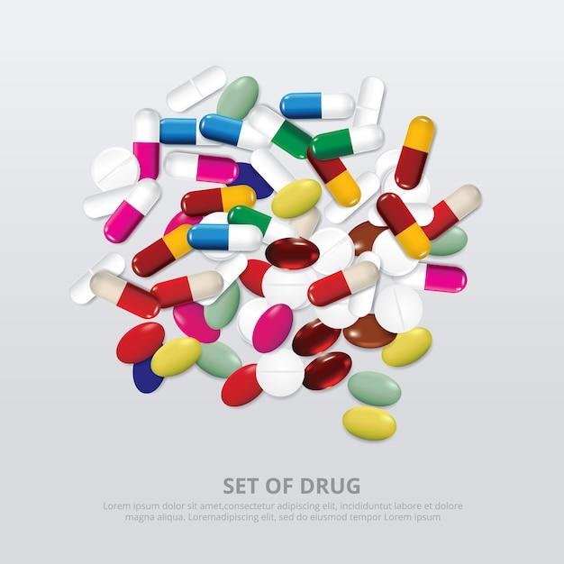 Gruppo di illustrazione realistica della droga Vettore gratuito
