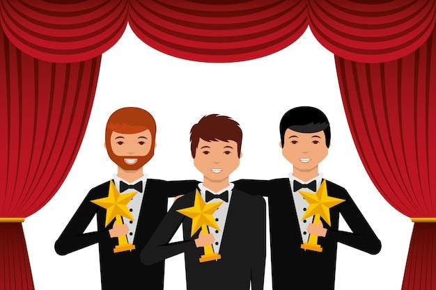 ゴールドトロフィーを持つグループ優雅な俳優 Premiumベクター