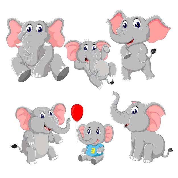 A group of elephant cartoon Premium Vector