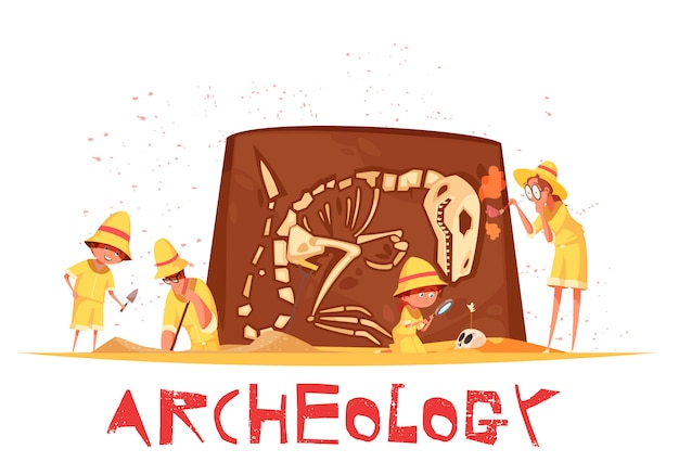Group of explorers with work tools during archaeological digs of dinosaur skeleton illustration Free Vector