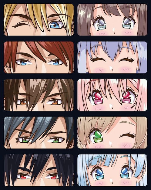 Group of faces young people anime style characters vector illustration design Premium Vector