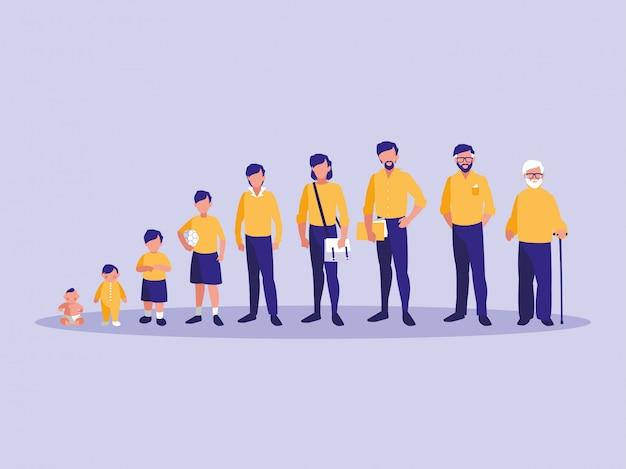 Group of family members avatar character Premium Vector