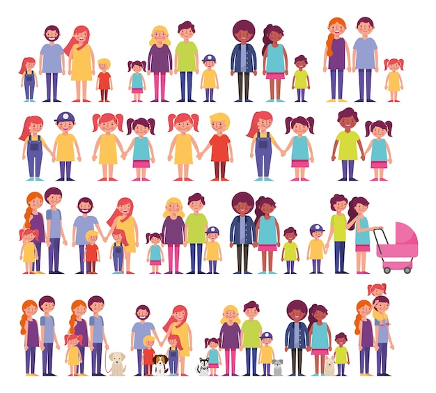 Group of family members characters Free Vector