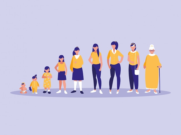 Group of family members characters Premium Vector