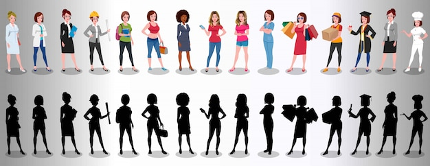 Group of female profession Premium Vector