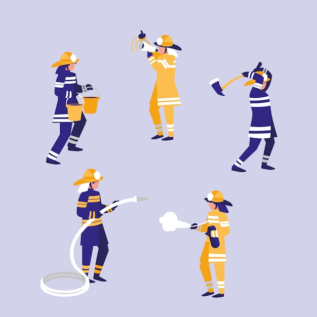 Group of firefighters avatar character Premium Vector