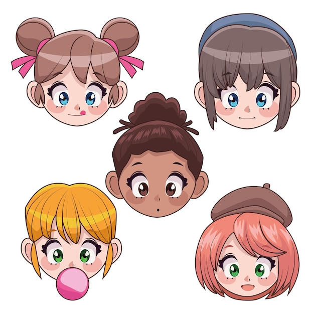 Group of five interracial teenagers girls anime heads characters  illustration Premium Vector