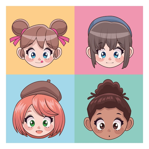 Group of four beautiful interracial teenagers girls anime head characters  illustration Premium Vector