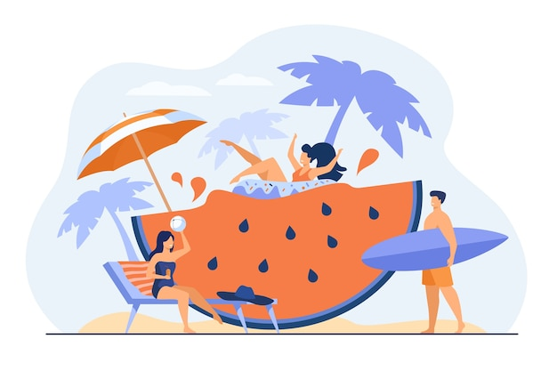Group of friends enjoying summer activities, having fun at beach or pool party, drinking cocktail, floating with rubber ring on huge watermelon slice. vacation, travel, leisure concept. Free Vector