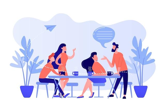 Gruppo di amici seduti al tavolo a parlare, bere caffè e tè, minuscoli personaggi. riunione di amici, rallegrare amico, concetto di supporto di amicizia. pinkish coral bluevector illustrazione isolata Vettore gratuito