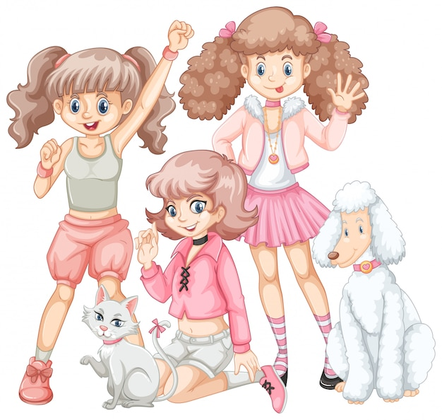 Group of girls and pets Free Vector