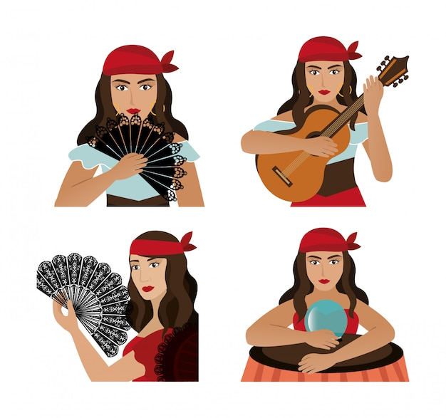 Group of gypsy female avatar character Free Vector