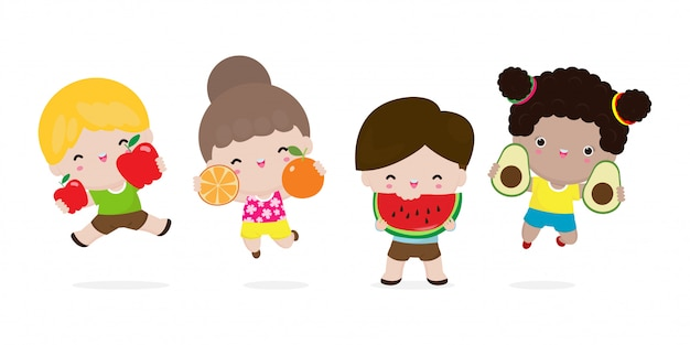 Group Of Happy Kids Jumping And Fruits Cute Cartoon Children Eating Avocado Apple Watermelon Orange Child Holding Smiling Live Fruits Healthy Food In The Farm Isolated On White Background Premium Vector