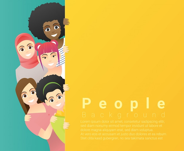Group of happy multi ethnic women standing behind empty colorful board Premium Vector
