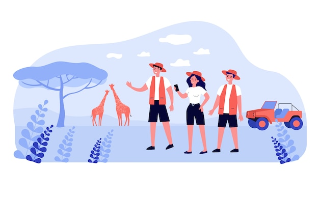 Group of happy tourists enjoying safari in africa Premium Vector