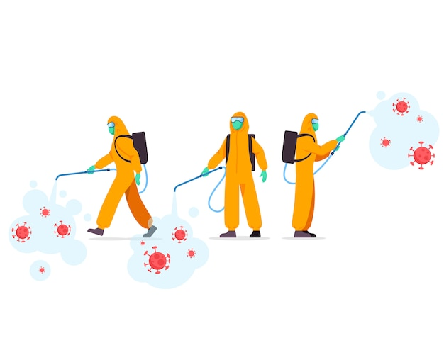 Group of health officer spraying disinfectant Premium Vector