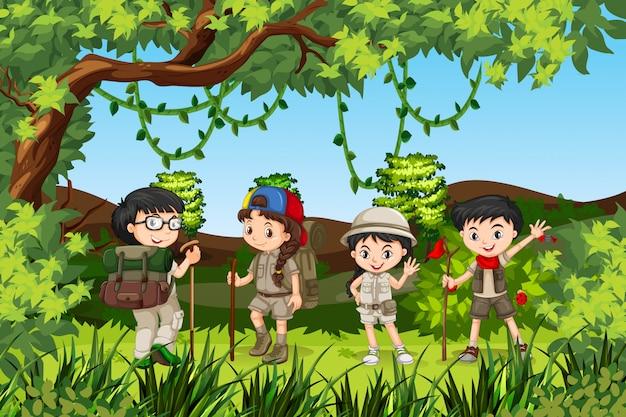 Group of hiking kids Premium Vector