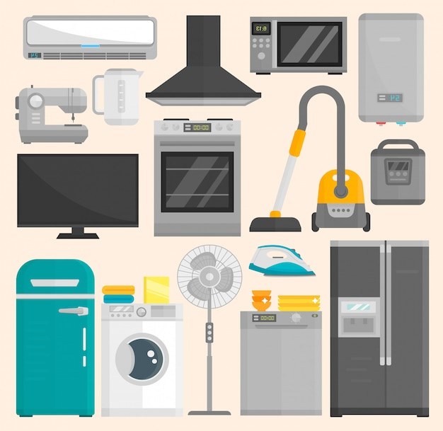 Group of home appliances isolated on white space. kitchen equipment refrigerator home appliance domestic oven washing microwave electric home appliance cooking freezer tool Premium Vector