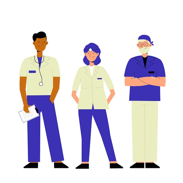 Group of illustrated health professional team Free Vector
