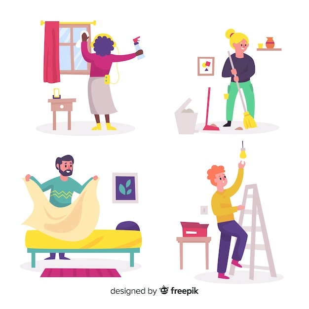 Group of illustrated people doing housework Free Vector