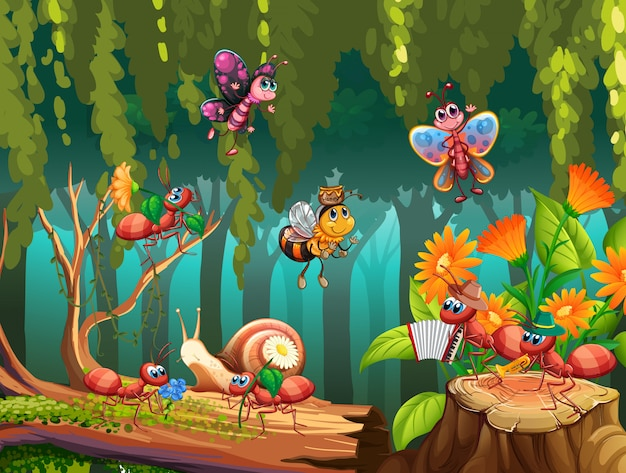 Group of insect in fairy nature Premium Vector