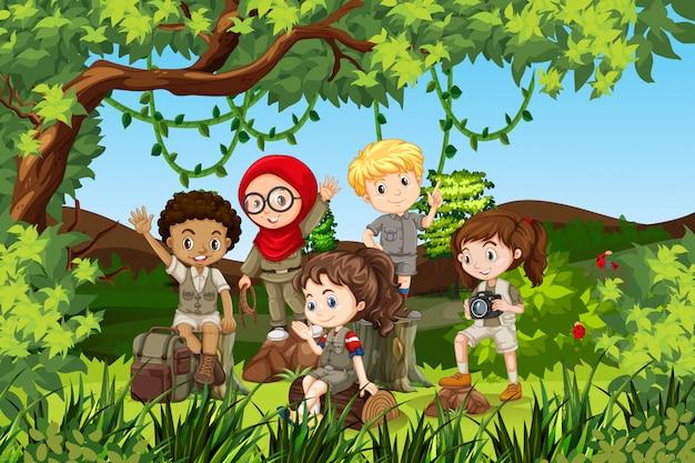 Group of international camping children Premium Vector