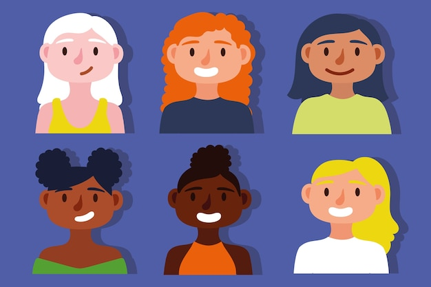 Group of interracial girls inclusion concept Premium Vector