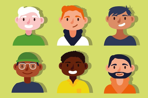 Group of interracial men inclusion concept characters Premium Vector