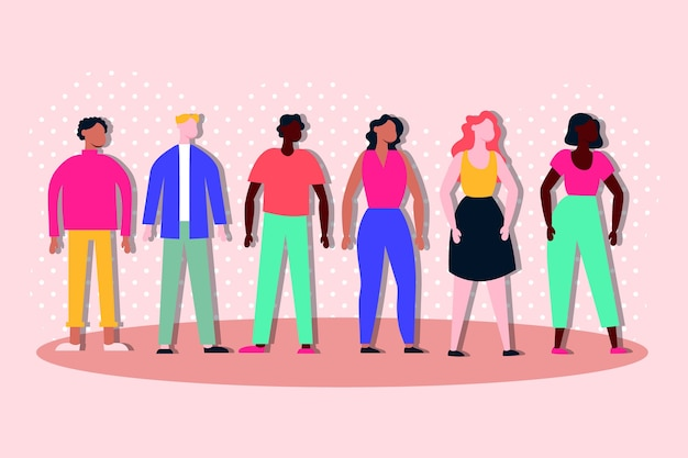 Group of interracial people inclusion characters Premium Vector