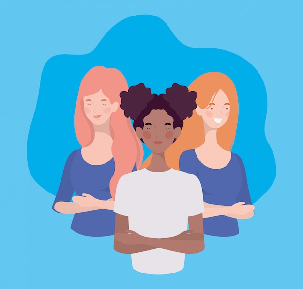 Group of interracial young women standing characters Free Vector