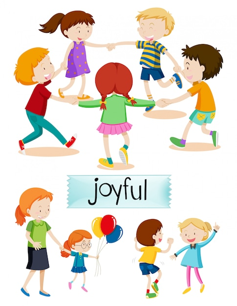 Group of joyful people Free Vector