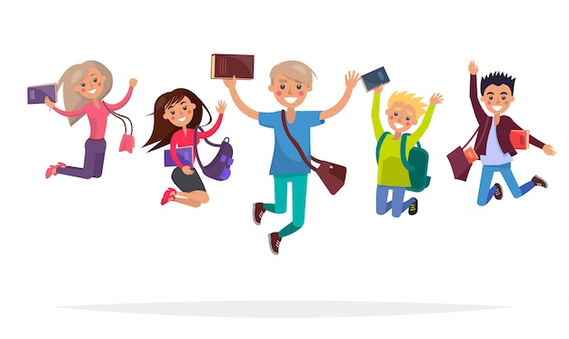 Group of jumping students with books, big backpacks and stylish brief bags isolated Premium Vector